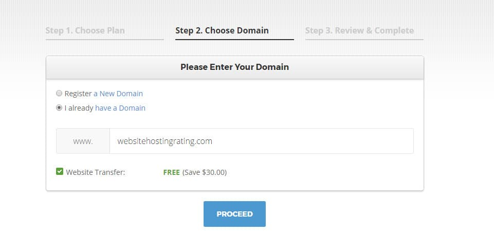 siteground choose domain